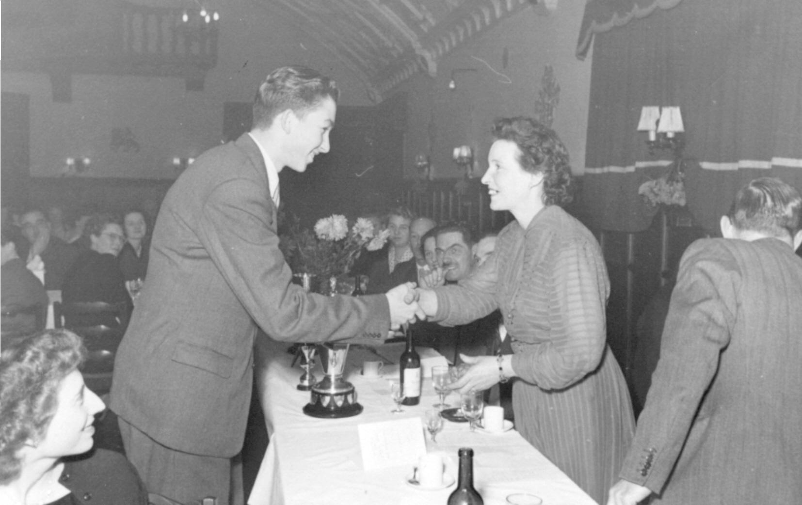 Club dinner, December 1952. Receiving awards from Mrs Sharpe